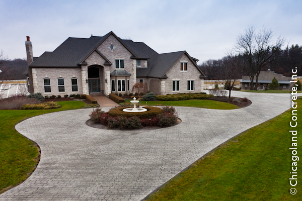 Chicago area home with new stamped concrete circular driveway